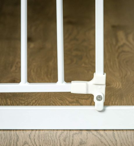 White horizontal and vertical bars on a baby gate.