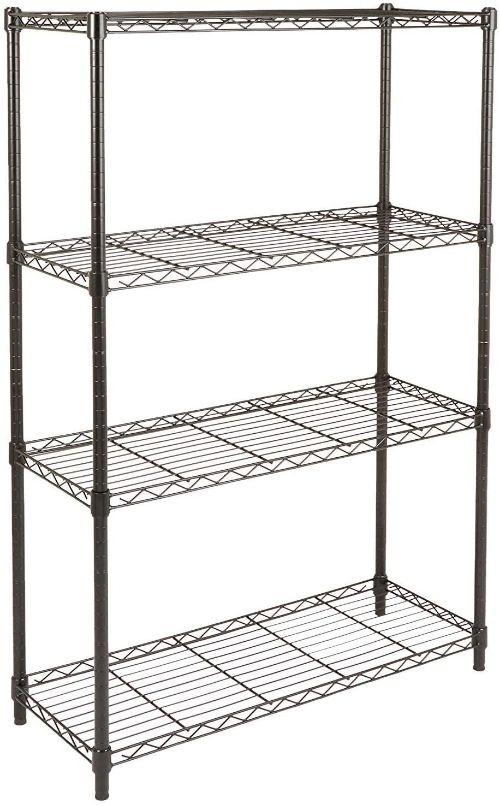 A black metal wire utility shelving unit