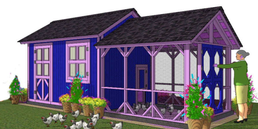 mockup of blue and purple chicken coop with run