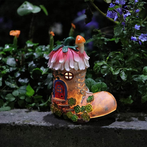 resin boot-shaped fairy house