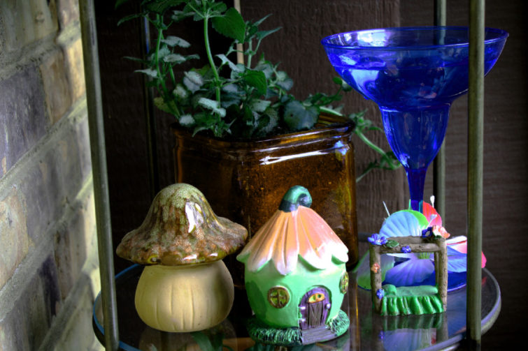 fairy house, fairy bed, large mushroom, plant, and water goblet on shelf