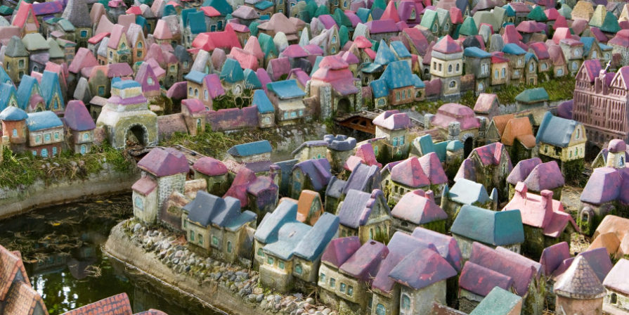 tiny river running through colorful fairy village