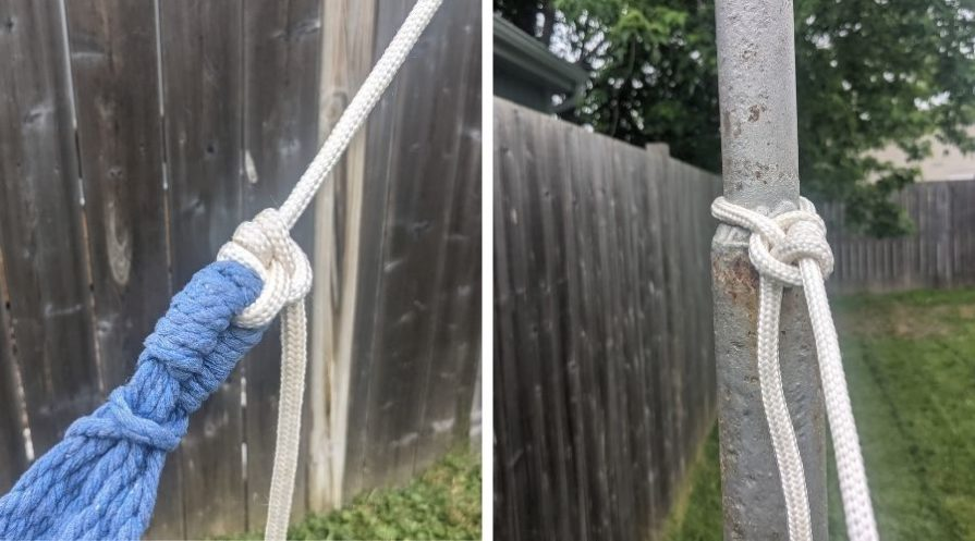A collage of two pictures showing rope knotted on the end of a hammock and to a flag pole