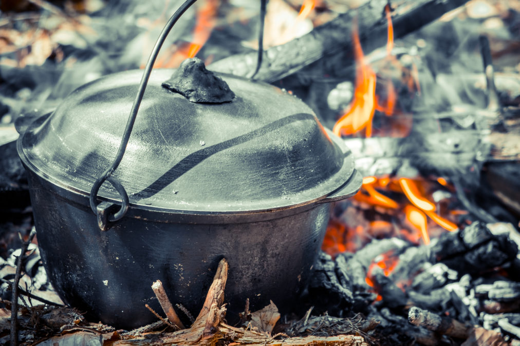 kettle on campfire