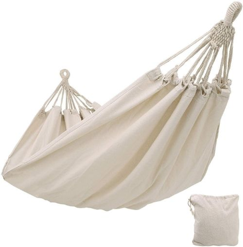 An off-white cotton traditional hammock.