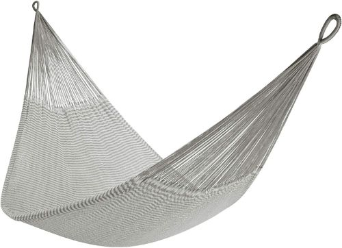 A traditional grey and white chevron-pattern woven hammock.