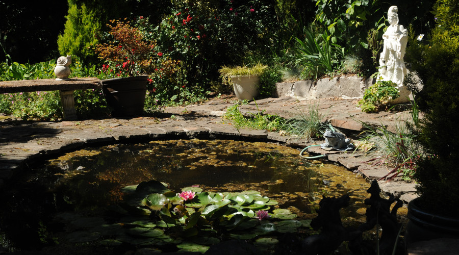 manmade pond with statuary and plants