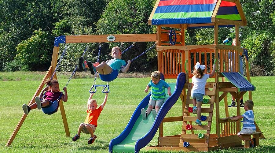 children playing on backyard