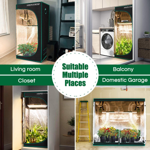 Multiple views of grow tent in various locations in house, labeled