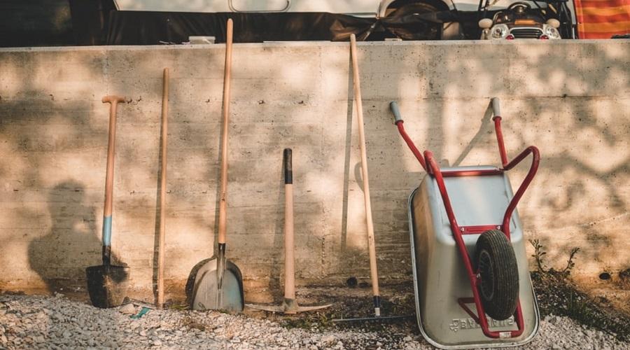 garden tools on display