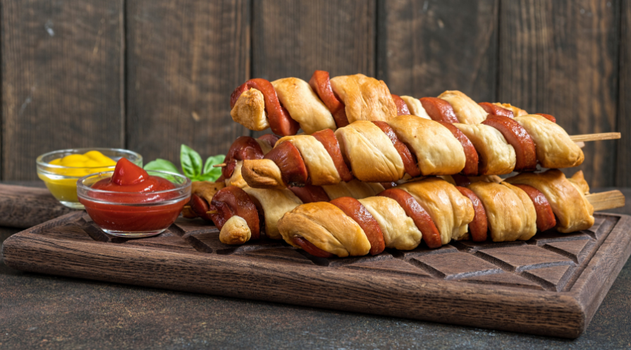 hot dog spiral with crescent roll