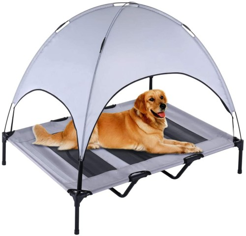 SUPERJARE XLarge Outdoor Dog Cot with Canopy