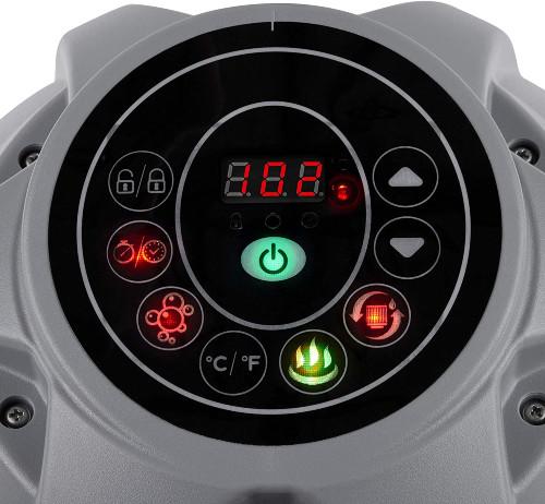 close-up of digital control on hot tub