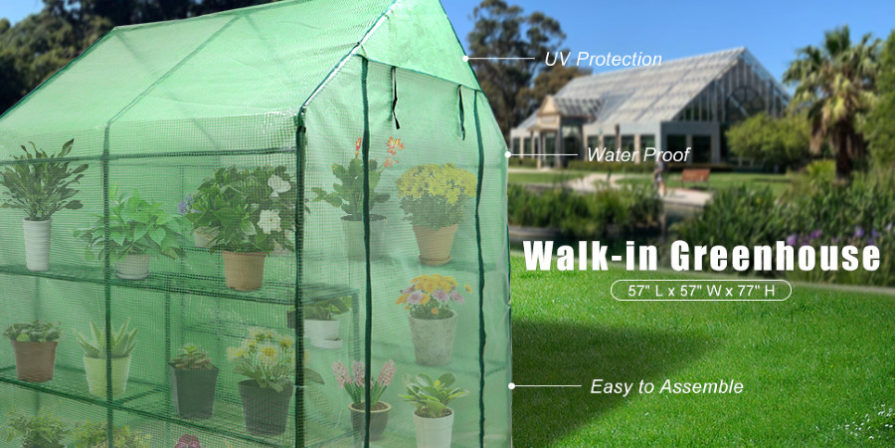 walk-in greenhouse with information posted about size and shape