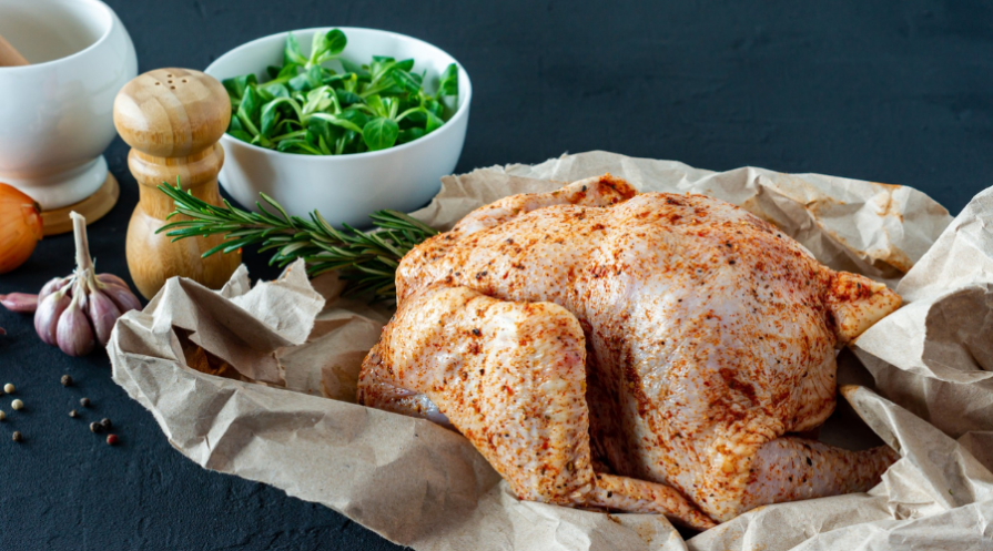 raw chicken and spices