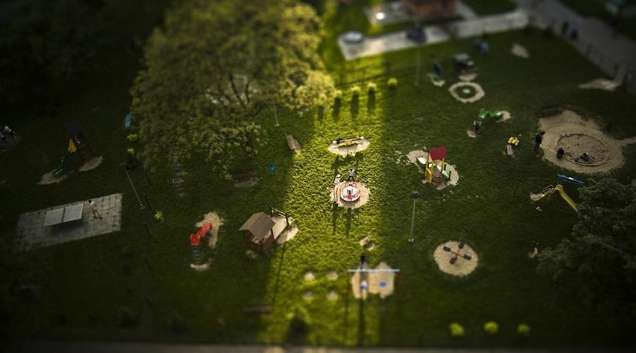 kids playground drone footage