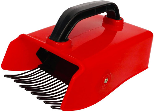 Red and black berry picker device with metallic comb