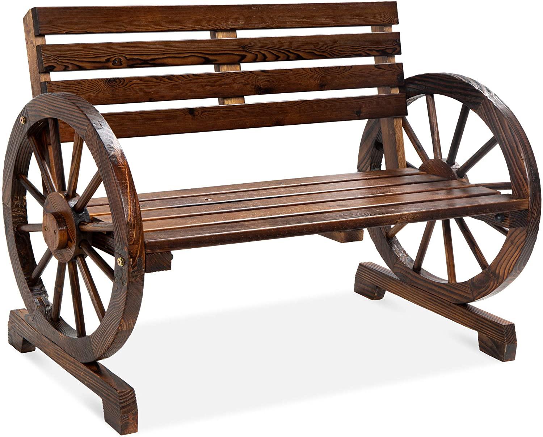 Wooden Wagon Wheel Bench