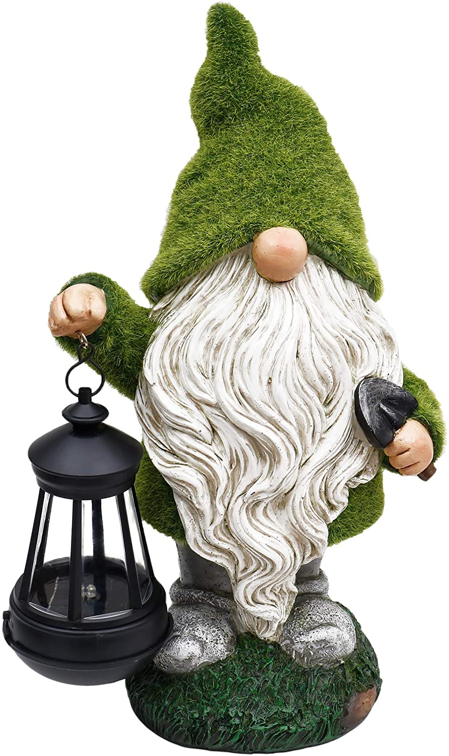 Teresa's Collections Flocked Garden Gnome With Solar Lights