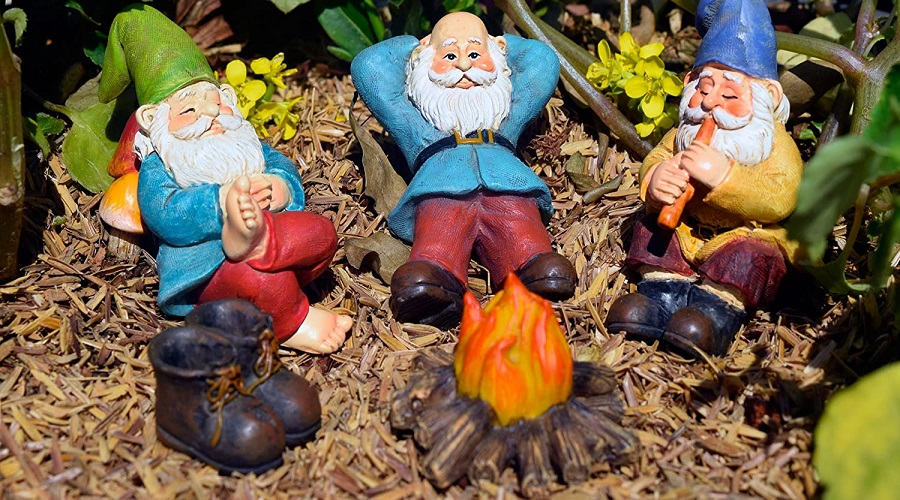 gnomes relaxing in the garden