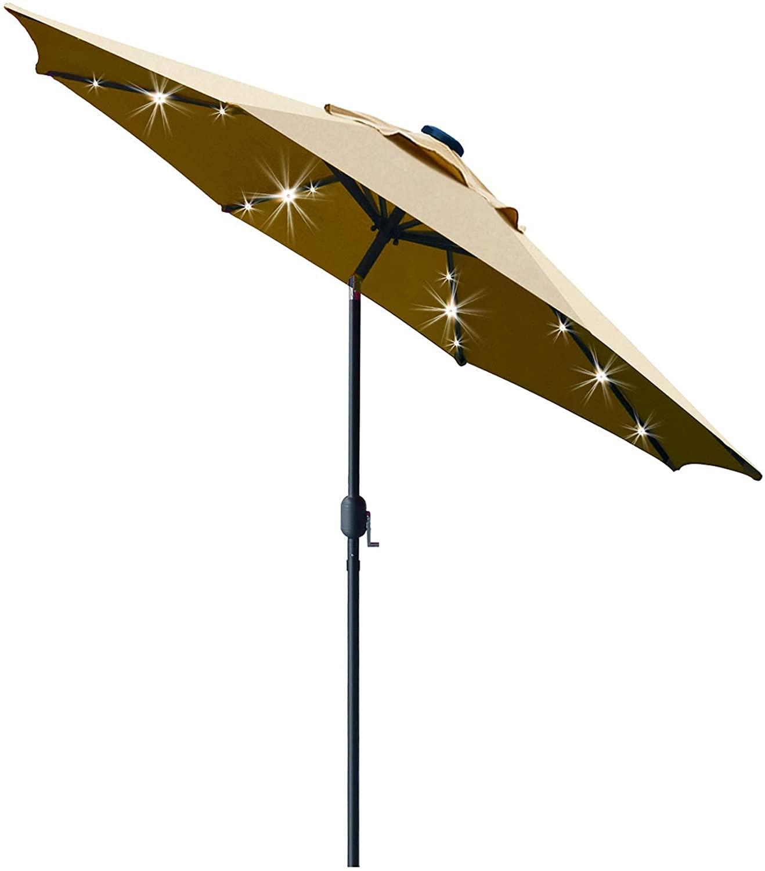 Sunnyglade Solar Umbrella with Antiquated Base