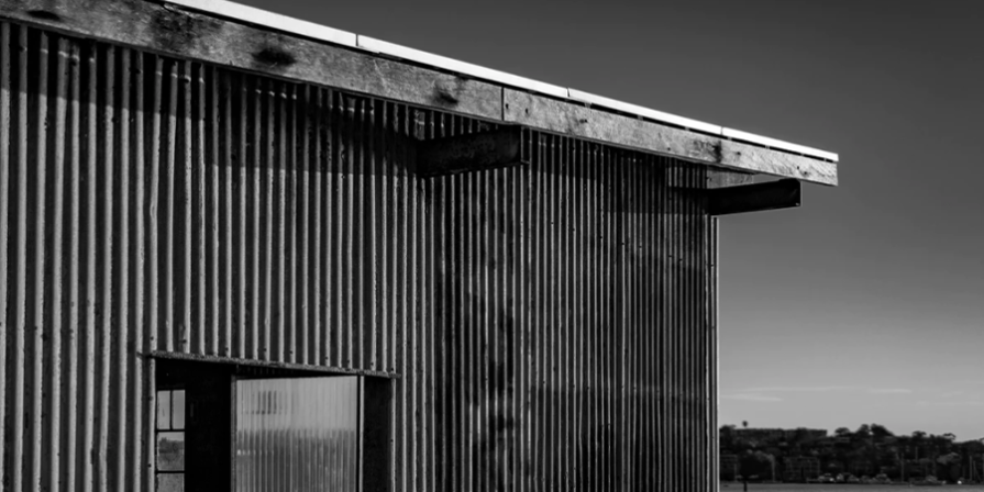 Black and White Metal Shed