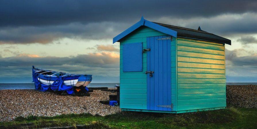 Blue Shed Near Ocean