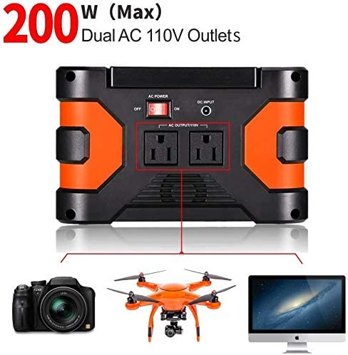 small portable black and orange generator with images of drone, TV, and camera beneath