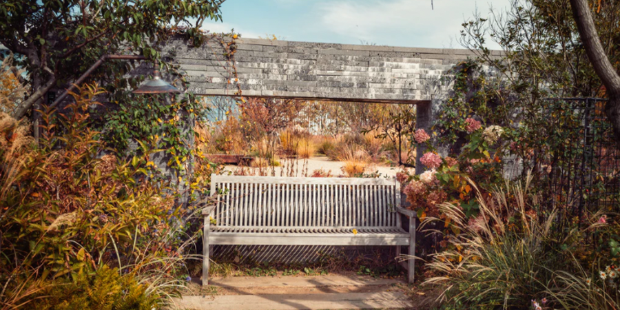 Garden Bench in Fall Colors