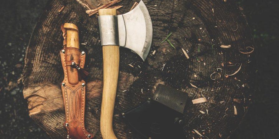 Wooden Hatchet On A Stump