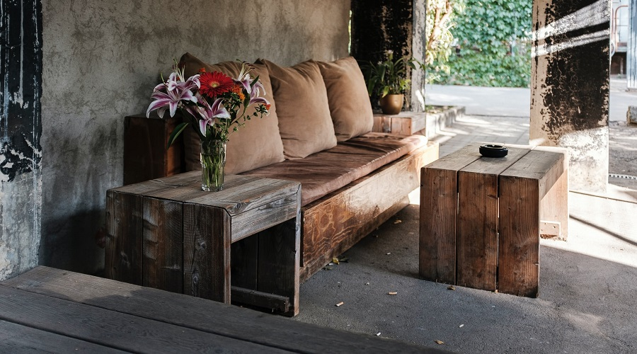 furniture made from wooden crates