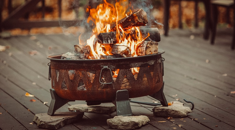burning wood on firepit