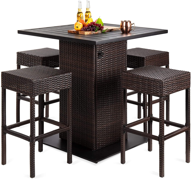 Outdoor Wicker Bar Table Set