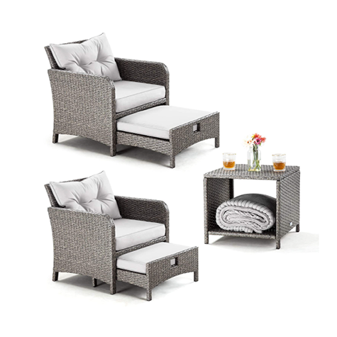 PAMAPIC 5 Pieces Wicker Patio Furniture Set