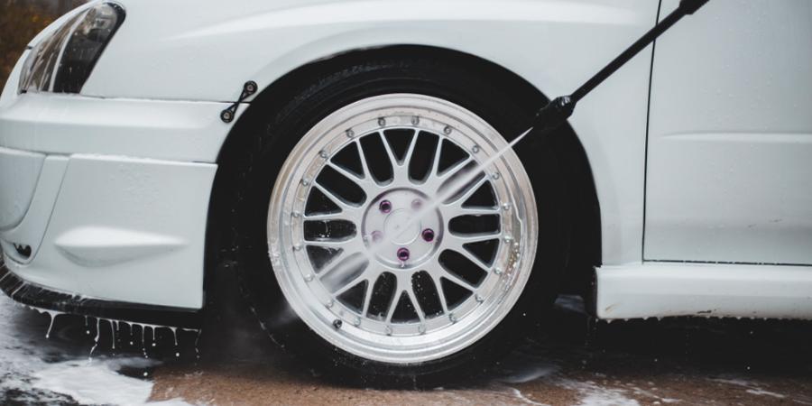 Pressure Washing Car Wheel
