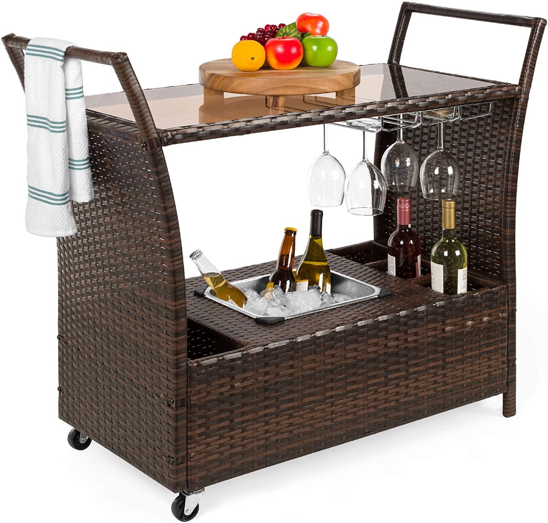 Rolling Wicker Bar Cart