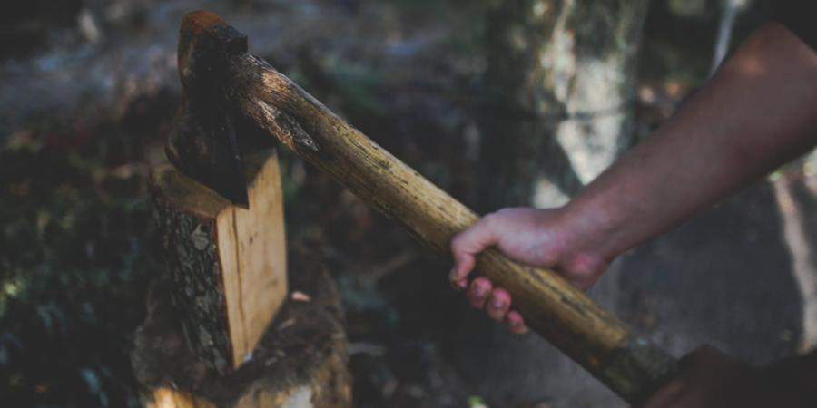 Splitting Wood with Axe