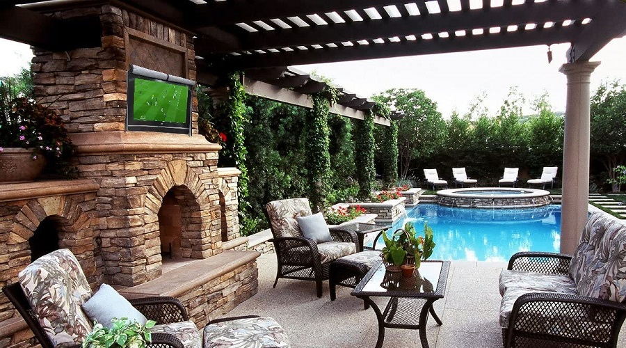 the best outdoor tv cover in semi covered patio