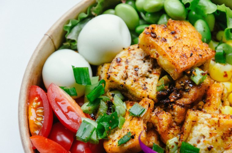 grilled tofu in a salad