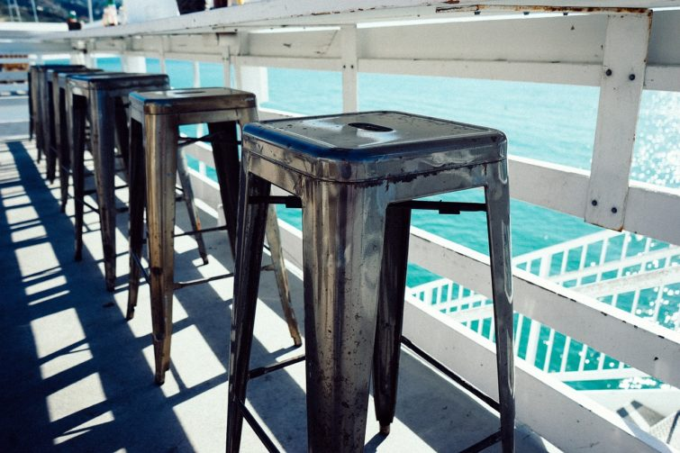 Metal stools with an ocean view