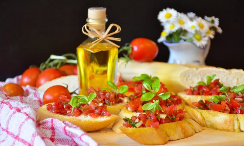 bruschetta with tomatoes bazil and olive oil