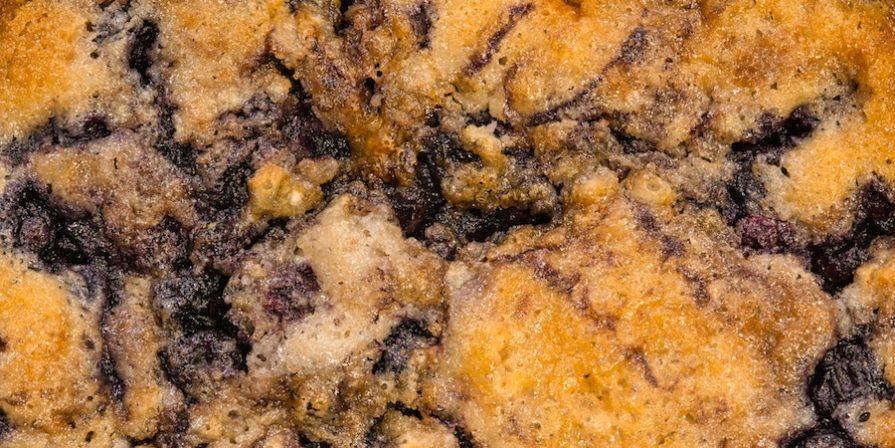 Close up of blueberry cobbler