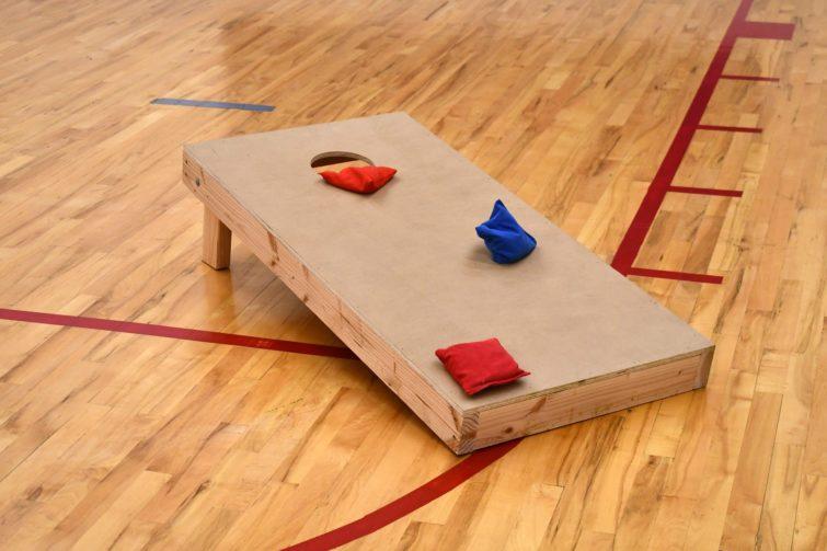 Cornhole in a gym
