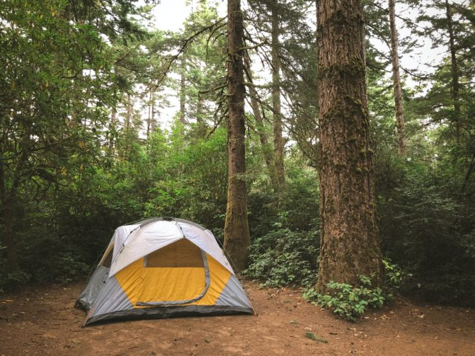 Small tent in the woods