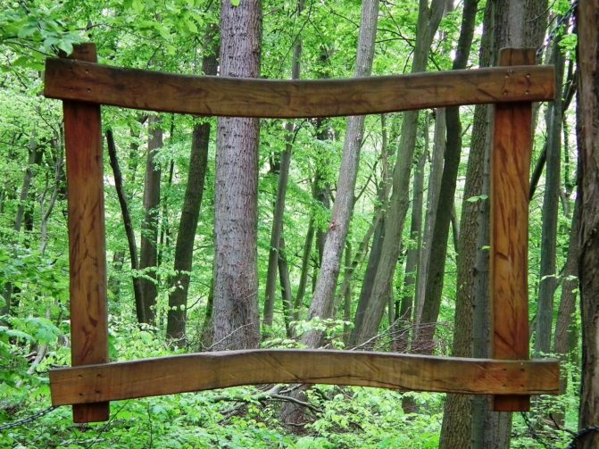 Wooden frame in the forest