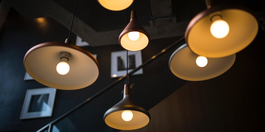 Many hanging light fixtures