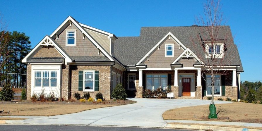 Nice suburban house with concrete driveway