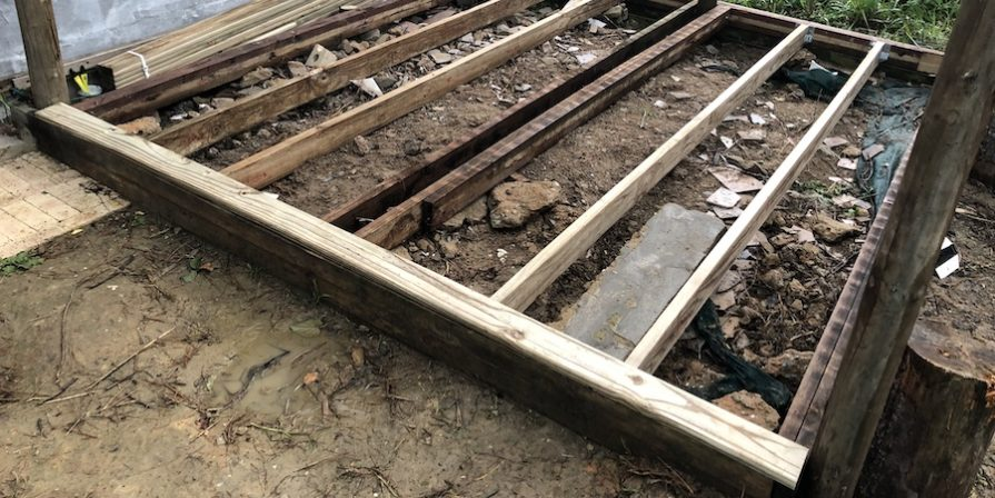 Deck frame with joists in place