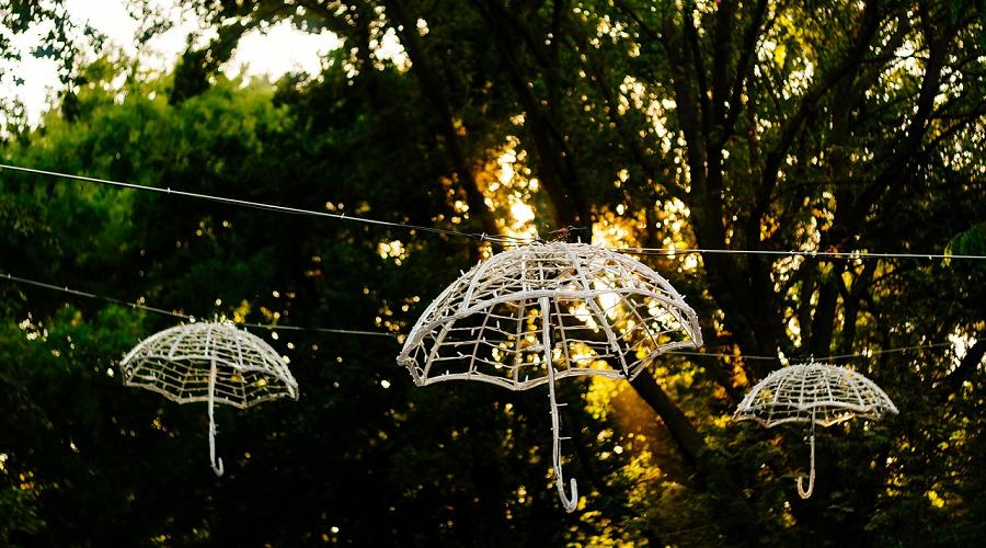 glowing umbrella lights