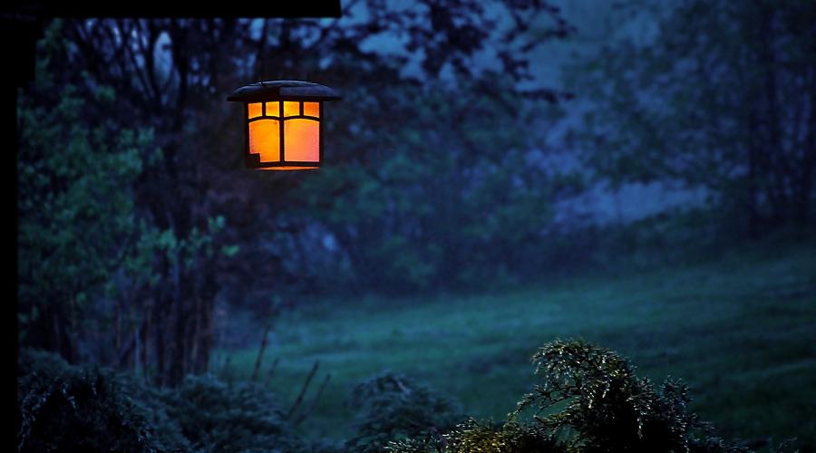 twilight lamp in the garden